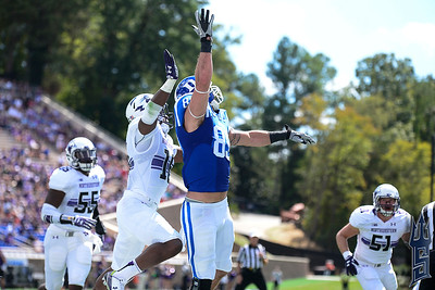 Braxton Deaver going for the catch / Duke Blue Devils / Photo by Chris Summerville