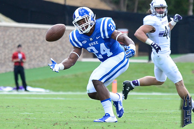 Zavier Carmichael with the near interception / Duke Blue Devils / Photo by Chris Summerville