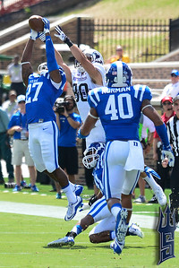 DeVon Edwards with the interception / Duke Blue Devils / Photo by Chris Summerville