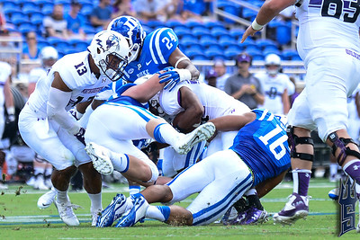 Duke defenders gang up on Northwestern / Duke Blue Devils / Photo by Chris Summerville