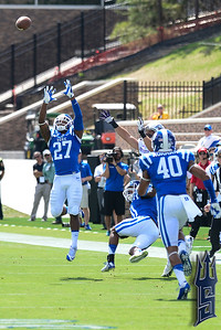 DeVon Edwards going for the interception / Duke Blue Devils / Photo by Chris Summerville