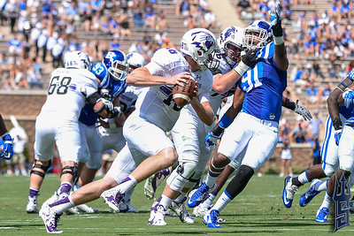 Marquies Price pressures the QB / Duke Blue Devils / Photo by Chris Summerville