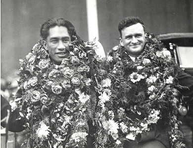 1924 Duke Kahanamoku and Dad Center