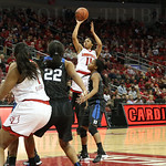 Arica Carter elevated to take a jump shot in first quarter action. Carter played 26 minutes, had 4 rebounds, 4 points with 3 assists and 4 steals in the 65-48 victory over Duke.