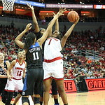 Erin Degrate powered up for a shot over Duke\'s Azura Stevens,# 11, during the second quarter.