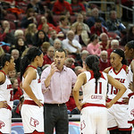 Head Coach Jeff Walz gave instructions during a timeout.