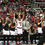 The University Of Louisville bench celebrated on a made 3-Ptr shot in the third quarter.