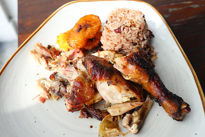 Jerk Chicken, rice & peas, plantains