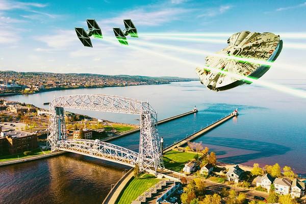 Tie Fighters and Falcon over the Lift Bridge
