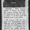 An article about the retirement of Walter R. Brown of Engine Company No. 30