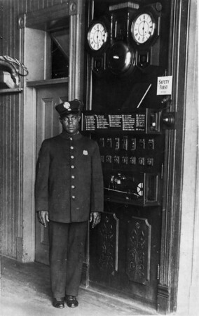 Fireman Lawrence Washington stands inside Engine Company No. 30 of the Los Angeles Fire Department (LAFD)