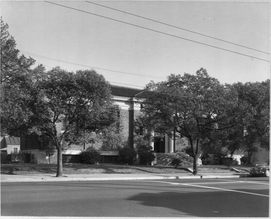 A front view of the Vernon Library from the corner of Forty-fifth Street and South Central Avenue