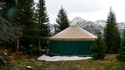 Yurt with The Paymaster in the background.