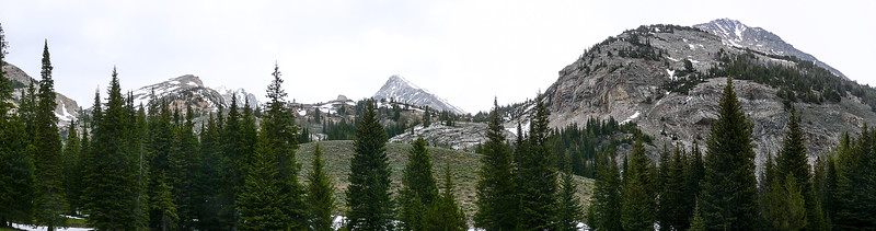 A panoramic shot of Duncan Ridge, Hyndman Peak, and Cobb Peak from Dry Lake and the Pioneer Yurt.