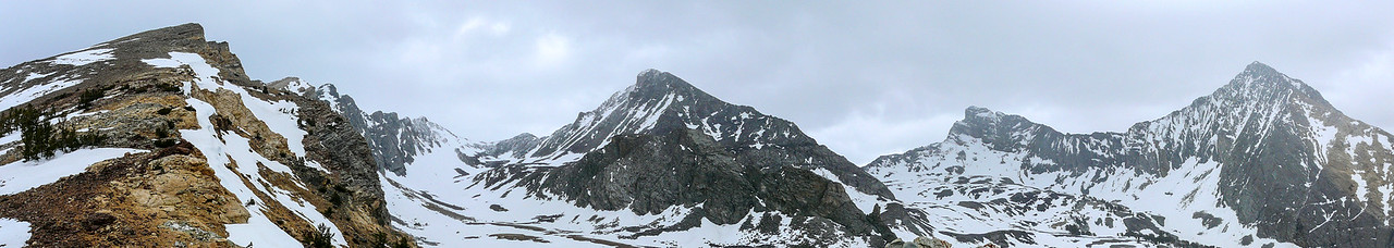 This is the reward. An amazing panorama of Duncan Ridge, the Pioneer Triumvirate, and Hyndman Basin.