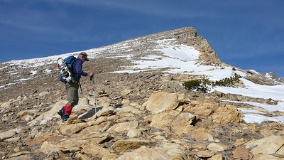 We clear timberline and enjoy the final slope along the ridge.