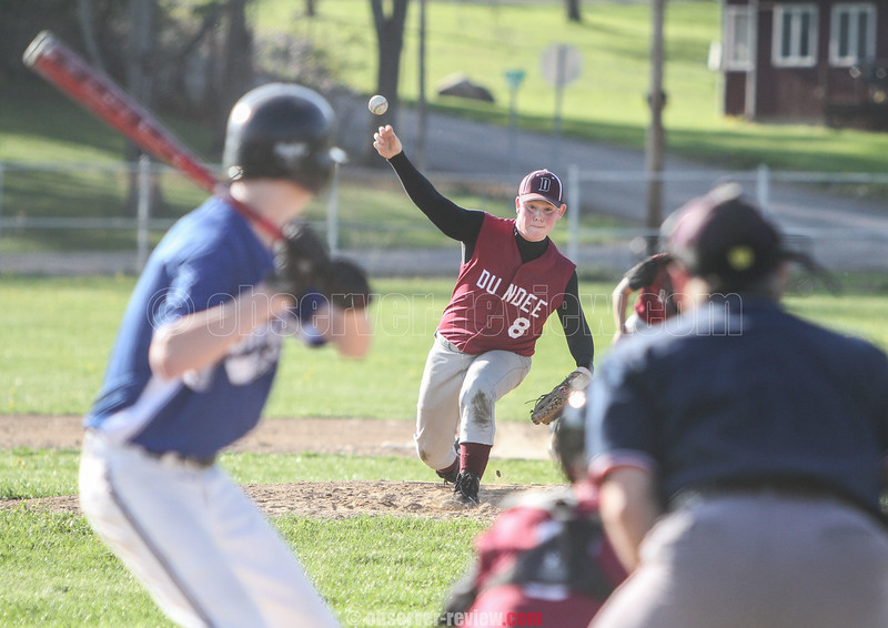 Action during the Dundee vs. Bloomfield baseball game, May 6, 2015. Dundee player Justin Neu broke the Section V record for most steals in a career.