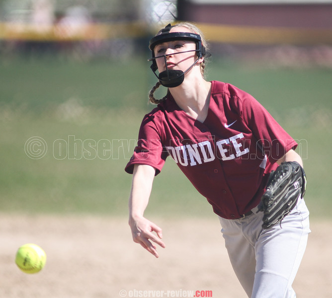 Action during the Dundee vs. Naples softball game, April 18, 2015.