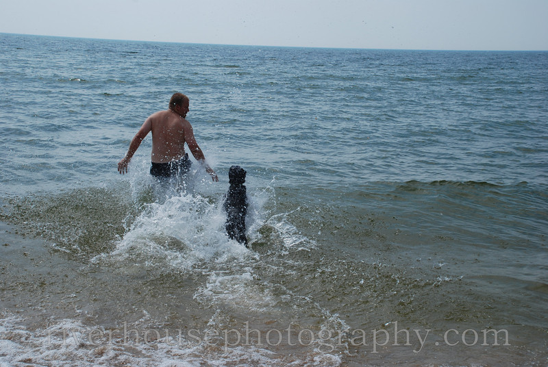 Plunging into Lake Michigan.