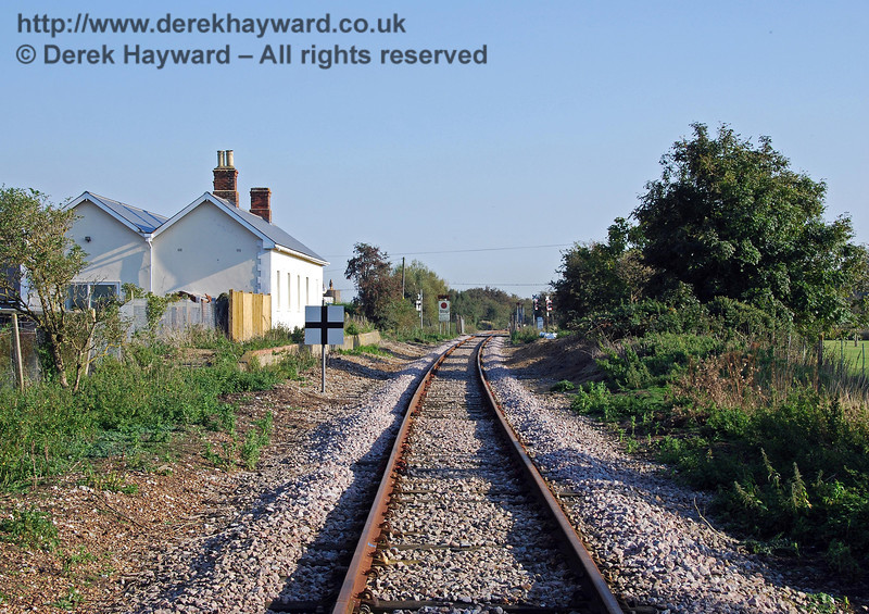 A further adjustment to the camera provides a more general view south through the station site towards the level crossing. Brookland Halt 27.09.2008