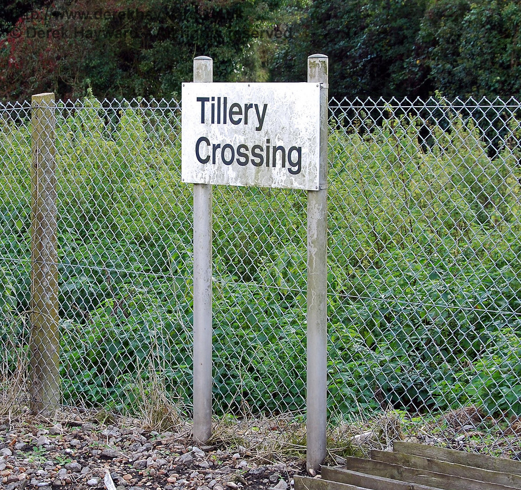 Tillery Crossing has a smart modern sign, but it could do with a clean. Having already seen graffiti dated 1992 at a previous crossing I am not too optimistic of early attention. 08.10.2008