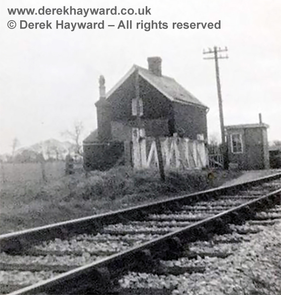 An old image of Boarmans Crossing, taken on 4 March 1967. The photographer has written on the back of the image that it was the last day of (passenger) trains and the last picture of the crossing complete with gates.  (Records show that passenger services actually ceased on 6 March 1967). Note that there is a crossing keeper's cottage and a hut for the keeper which appears of later construction.  At the time the Ransome family lived in the dwelling.  From the collection of Joyce Stevens, whose copyright is acknowledged, and used with permission.