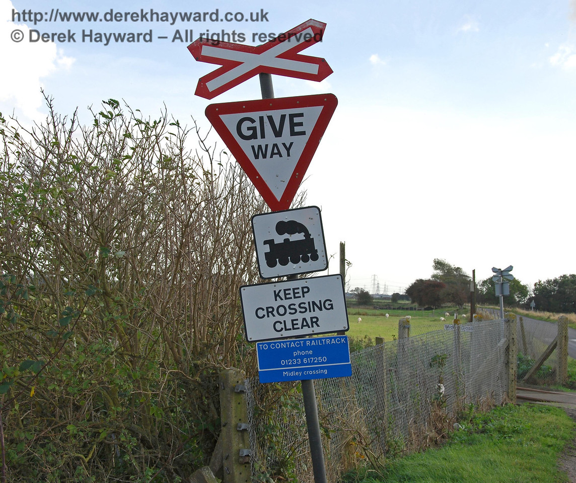 The Midley Crossing signs.  The camera is straight but the signs are not! 08.10.2008