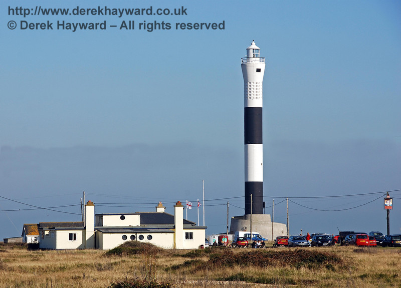 A closer view of the new (operational) lighthouse at Dungeness, whilst to the left of the building is a vital resource in the bleak surroundings; a public house. 27.09.2008