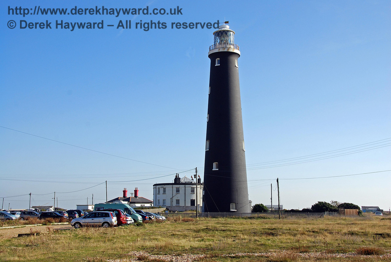Dungeness Old Lighthouse stands at the southern end of the old station site.  When the power station was built it became obvious that the light would be blocked from view by the height of the power station buildings and a new lighthouse was constructed a short distance away. The old lighthouse is open to visitors on some days and has it's own website. 27.09.2008