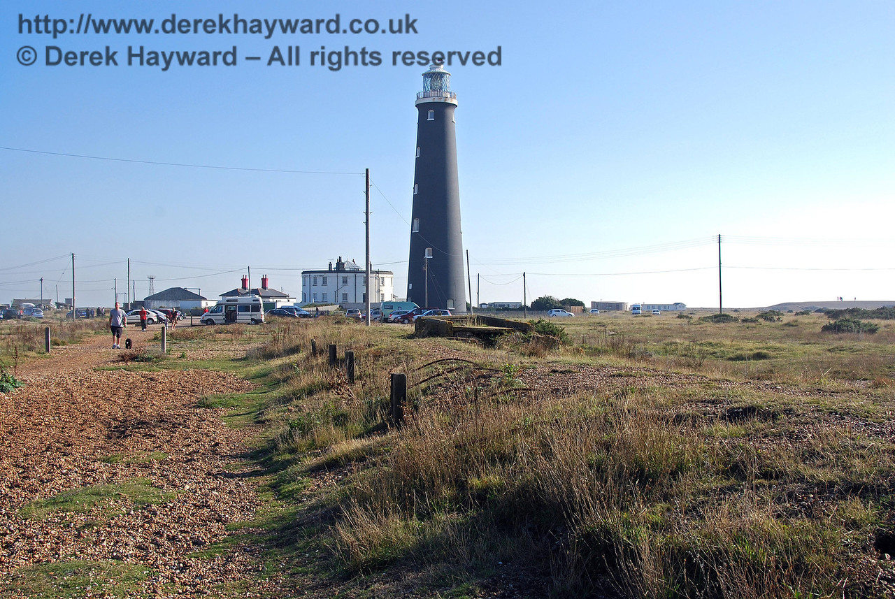 The old track bed adjacent to Dungeness Station platform is now a path. A running round loop was provided, and at the southern end of the station a gated Admiralty Siding was provided in what is now a car park. 27.09.2008