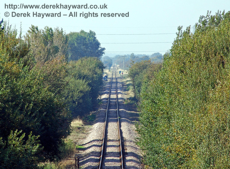 Looking north from the overbridge with a long lens, Caldicott Crossing can be seen in the distance. 27.09.2008