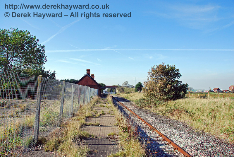 The platform at Lydd Town Station is still in reasonable condition excluding the obvious problem with weeds. This view looks north on 27.09.2008