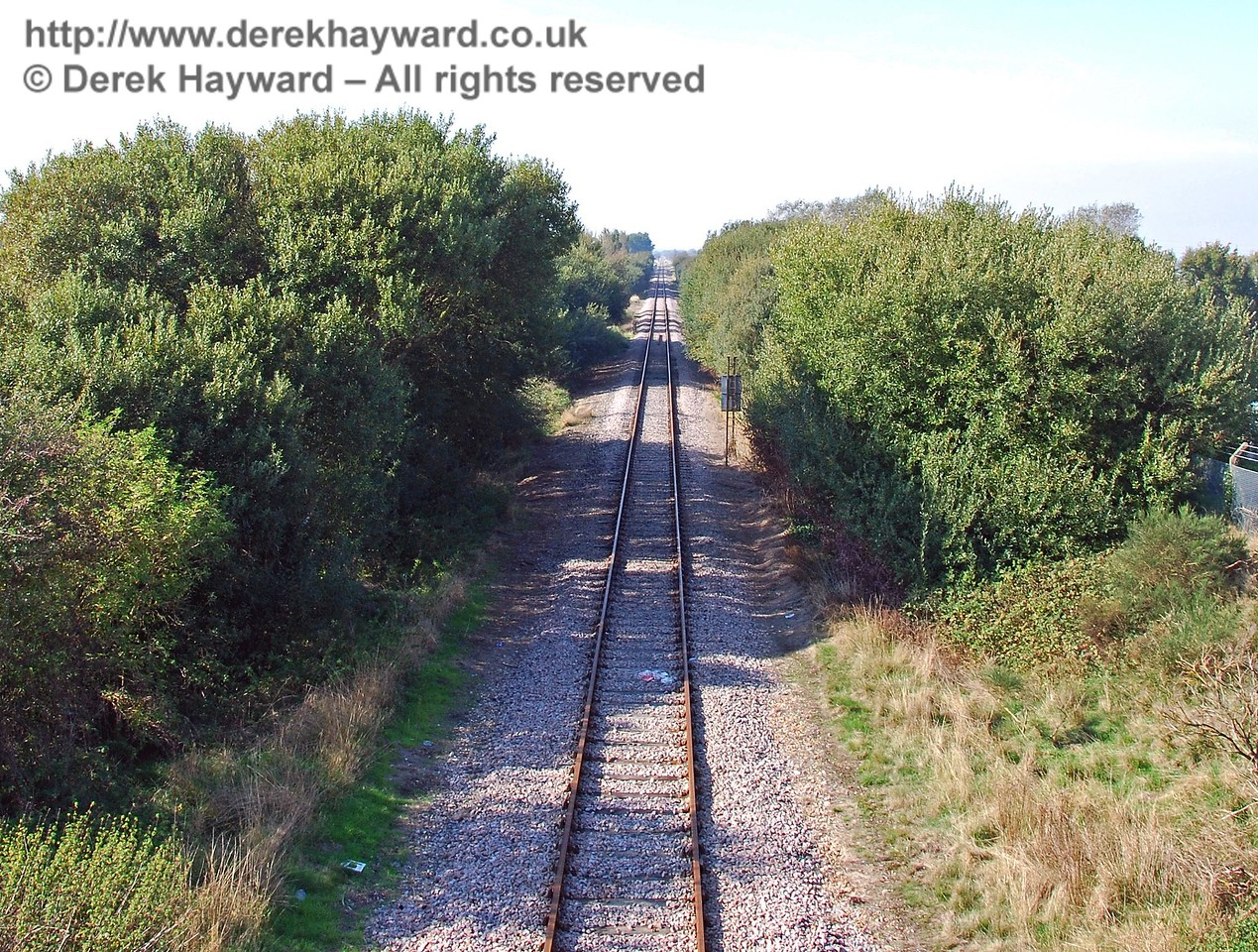 The same view north as the previous picture, but this time taken from the top of the overbridge at Lydd Town Station. 27.09.2008