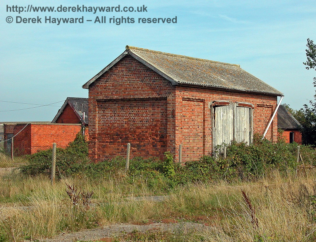 The other side of Lydd Town goods shed also pictured on 02.09.2005.  Vehicles collected goods from the double doors.