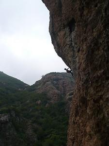Tim climbing at Echo cliffs in Santa Monica Mtns