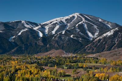 Sun Valley Golf Course and an early October Bald Mountain.