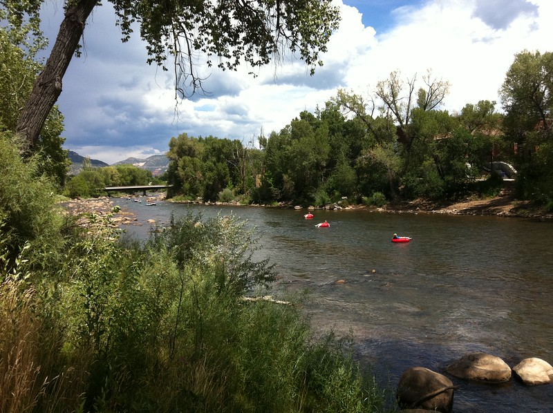 People floating down Animas River, downtown