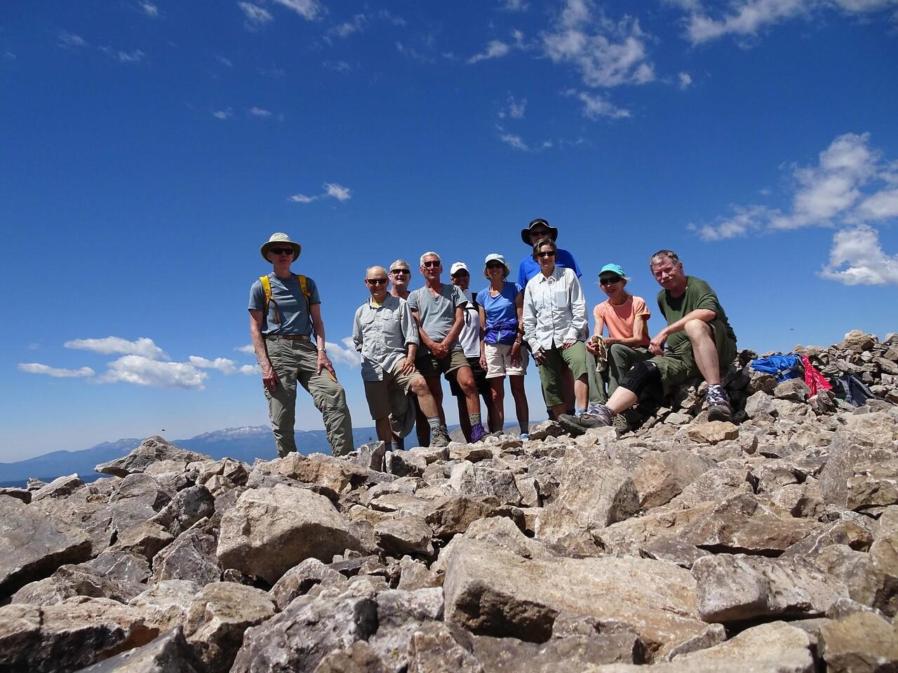 50 At the peak of Engineer Mtn, Charlie, Wayne, Keith, Bob, Robert, Sheri, Bill, Elaine, Lynn & Bruce