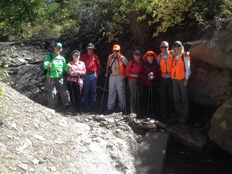12 Hiking the culvert are Han Bishop, Gail Davidson, Larry Tweedy, Bruce Rodman, Shelly Leader, Lynda Packard, Suzanne and Jim Sutherland