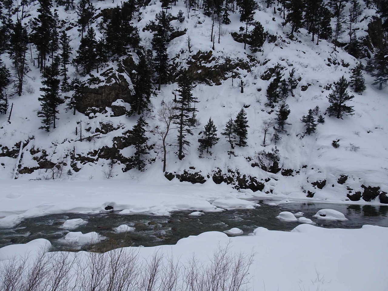 60 A snowy, icy river