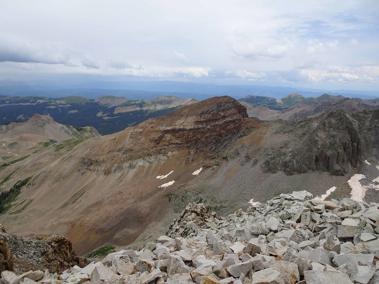 76 Looking east from the summit, Cetential Peak in foreground and Raider's Ridge distant