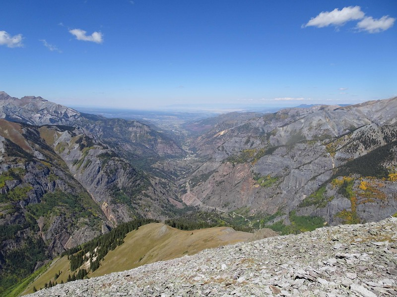 703 From Abrams Mountain, looking north to Ouray in the canyon below