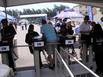 """There were several admission gates separating each grandstand.  An electronic scanner decided if a patron had """"clearance"""" to enter or not."""