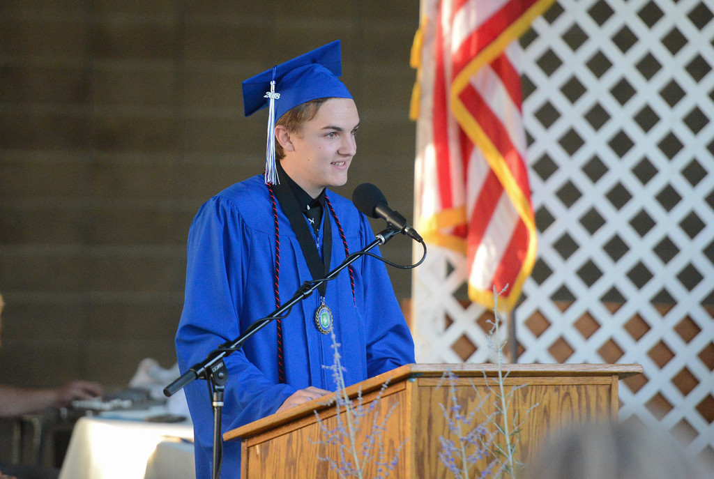 . Class president Garrett Hunt givers the senior farewell speech during the Durham High graduation, May 31, 2018,  in Durham, California. (Carin Dorghalli -- Enterprise-Record)