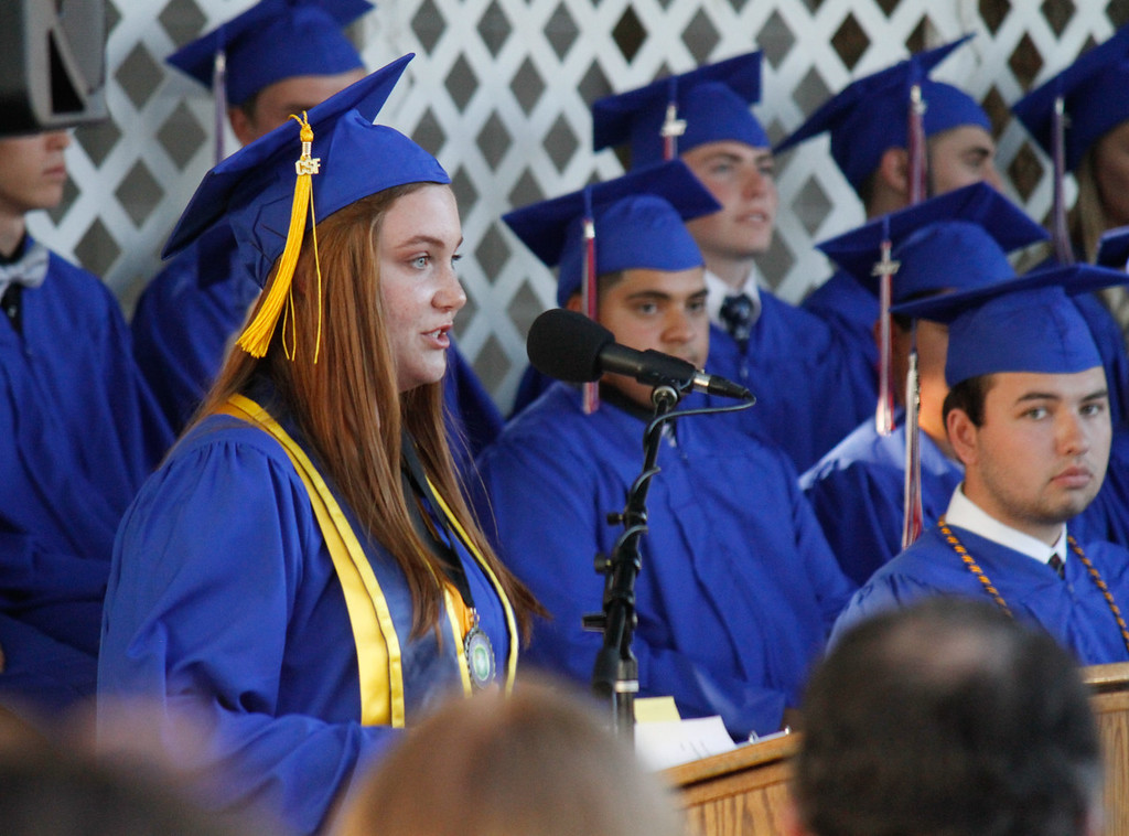 . Durham High School salutatorian Taylor Abouzeid gives her speech to the graduating class of 2017 during the graduation ceremony Thursday June 1, 2017 at Durham High School in Durham, California. (Emily Bertolino -- Enterprise-Record)