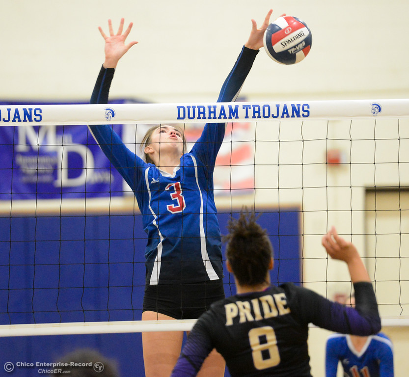 . Durham High\'s Lindsey Bryant (3) blocks Bradshaw Christian\'s Brittany Hubbard spike in the first round of the state playoffs for Division V Wednesday November 15, 2017 in Durham, California. (Emily Bertolino -- Enterprise-Record
