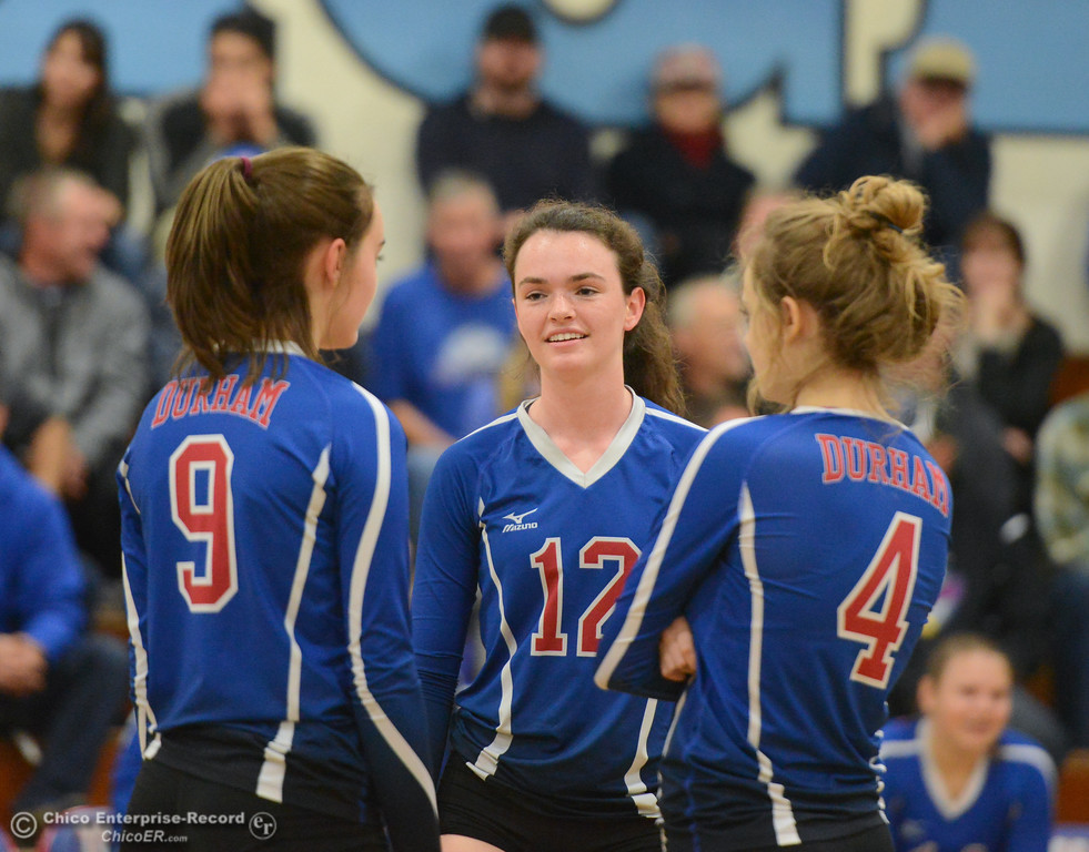 . Durham High volleyball hosts Bradshaw Christian in the first round of the state playoffs for Division V Wednesday November 15, 2017 in Durham, California. (Emily Bertolino -- Enterprise-Record