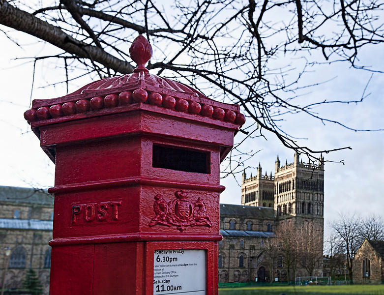 Durham Cathedral and the Red Post Box