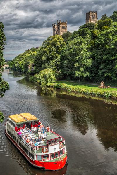 River Boat on the River Wear at Durham with Durham Cathedral