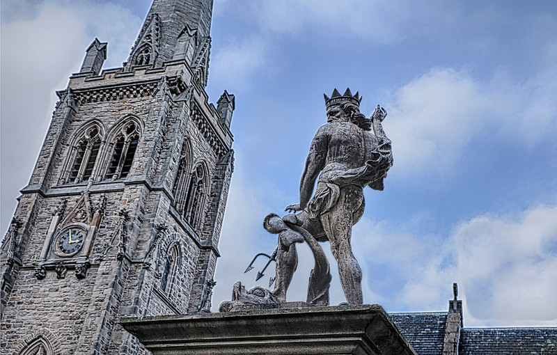Surrealist Photo of Durham Church and the Statue of Neptune